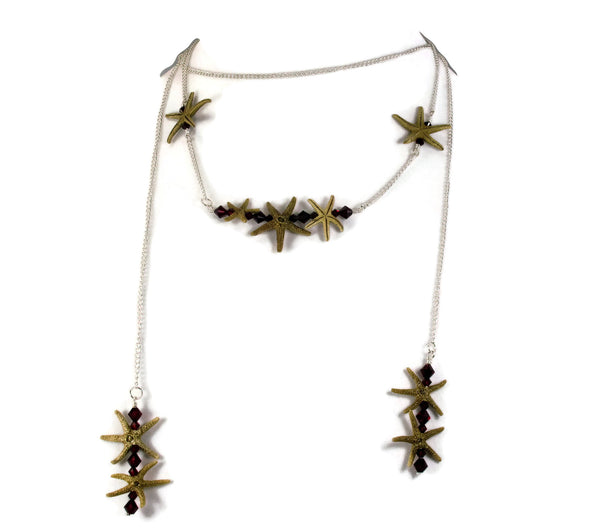 Double Starfish Bar Lariat Necklace