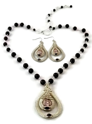 Double Drop Earring & Necklace Set - Argentium Sterling Silver