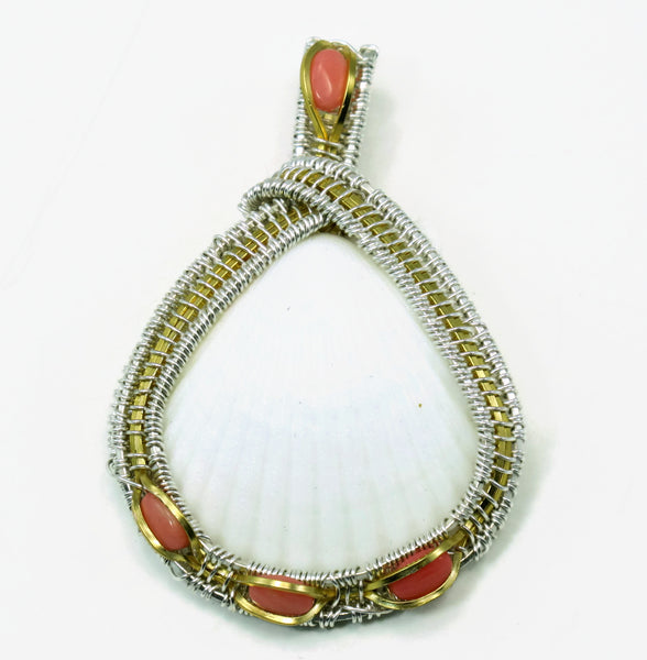 Large Scallop Pendant with Pink Coral