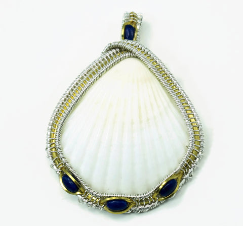 Large Scallop Pendant with Lapis Howlite