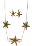 Silver Single Starfish Bar Earring & Necklace Set