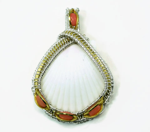 Medium Scallop Pendant with Pink Coral