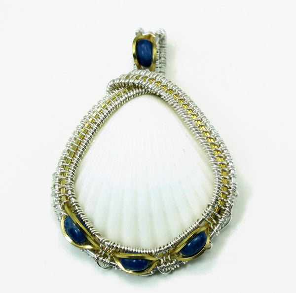 Medium Scallop Pendant with Lapis Howlite