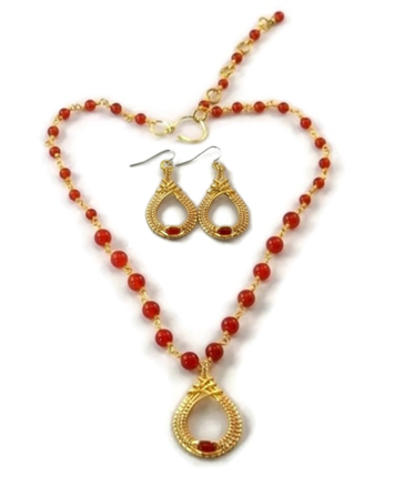 Mini Cutout Drop Earring & Necklace Set - 14kt Gold Fill