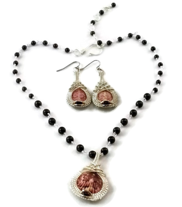 Mini Shell Drop Earring & Necklace Set - Argentium Sterling Silver