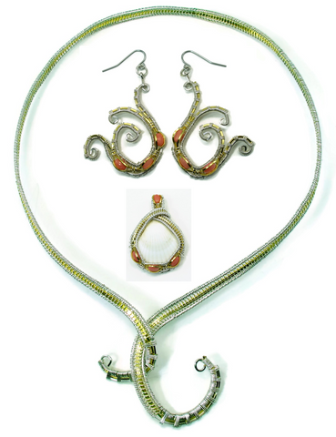Neckwire with Small Coral Pendant & Coral Mini Scroll Earrings Gift Set