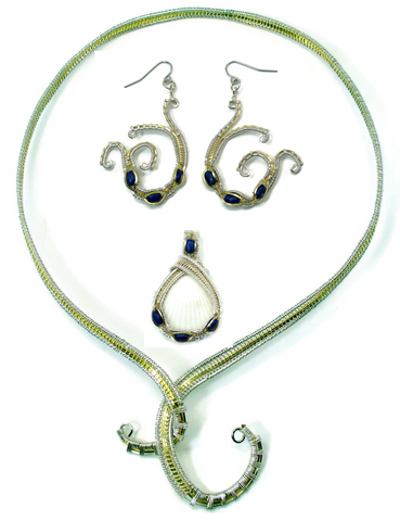 Neckwire with Small Lapis Pendant & Lapis Mini Scroll Earrings Gift Set