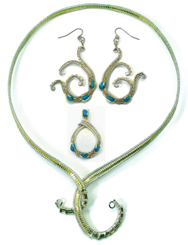 Neckwire with Small Turquoise Pendant & Turquoise Mini Scroll Earrings Gift Set