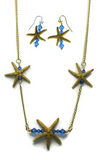 Gold Single Starfish Bar Earring & Necklace Set