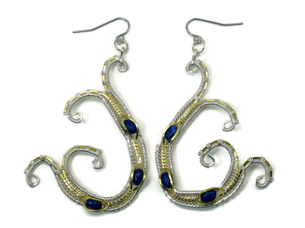 Scroll Earrings with Lapis Howlite