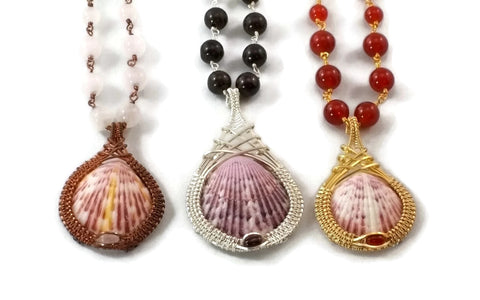 shell drop necklace group