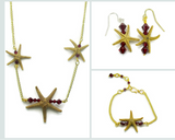 Gold Single Starfish Bar Earring, Necklace & Bracelet Set