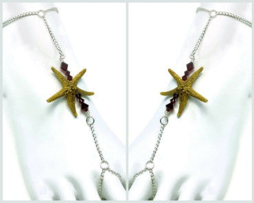 Silver Single Starfish Bar Barefoot Sandal Pair
