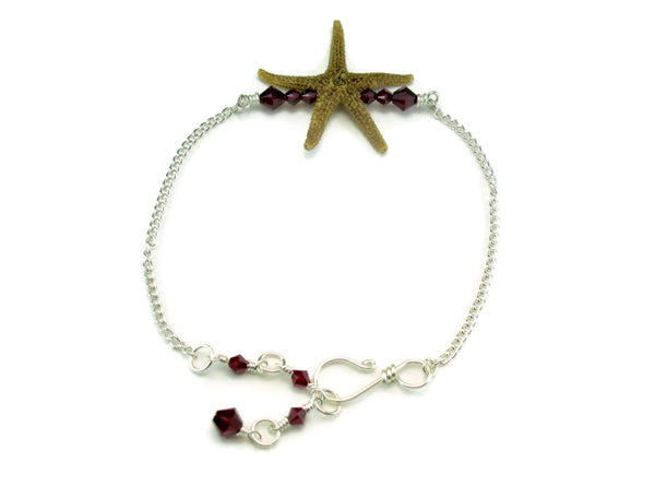Single Starfish Bar Ankle Bracelet - Free Gift