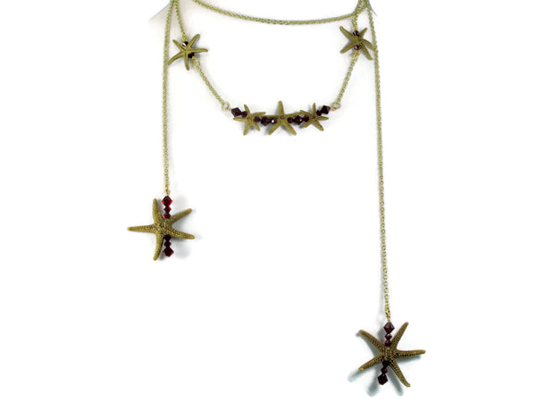 Gold Triple Starfish Bar Necklace & Single Starfish Bar Lariat Set