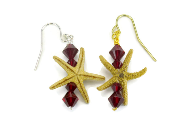 Single Starfish Bar Earrings
