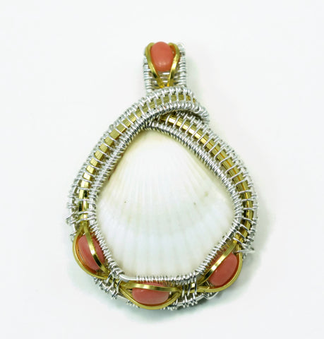 Small Scallop Pendant with Pink Coral