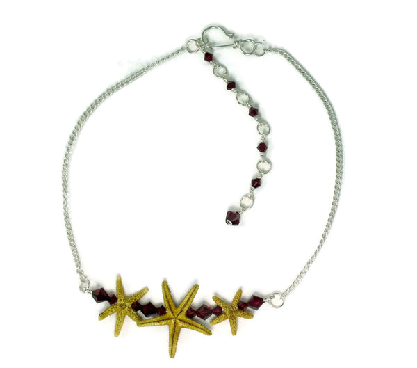 Triple Starfish Bar Choker Necklace