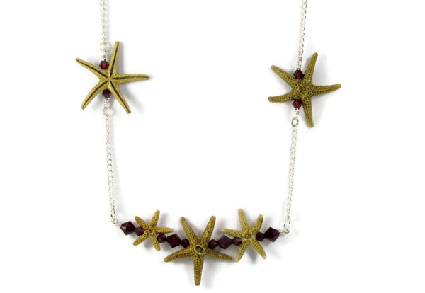 Triple Starfish Bar Necklace