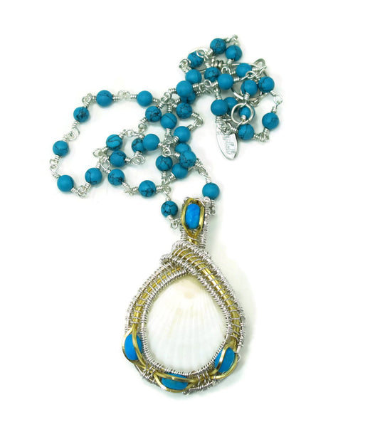 Turqoise Gemstone Chain with Small Turquoise Pendant Gift Set