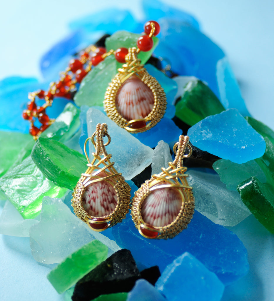 Mini Shell Drop Earrings and Necklace in 14kt Gold Fill with Carnelian