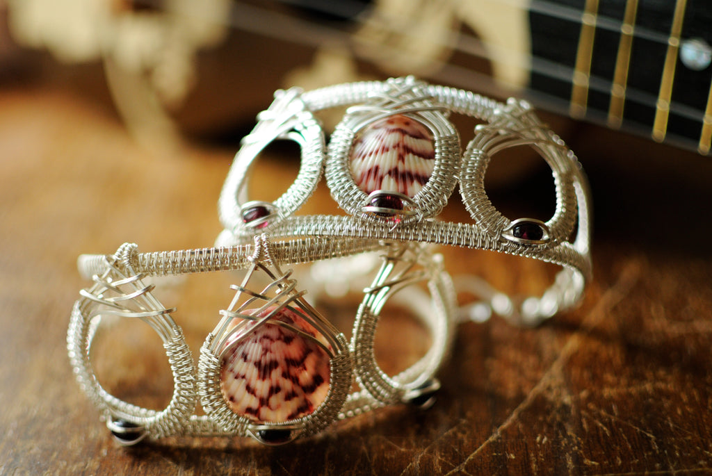 Shell Drop Cuff Bracelets in Argentium Sterling Silver with Garnet
