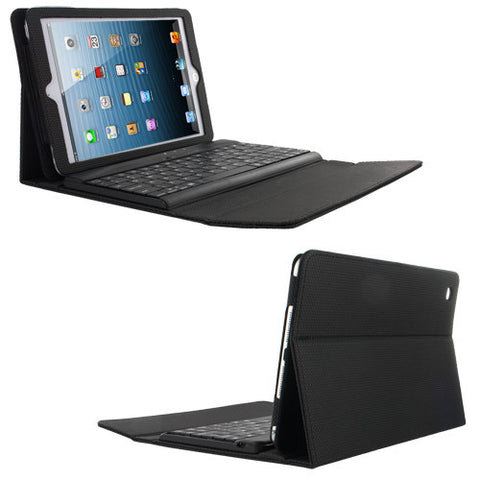 Skque Folding Leather Case Cover Stand with Detachable Wireless Bluetooth Keyboard for Apple iPad Mini, Black