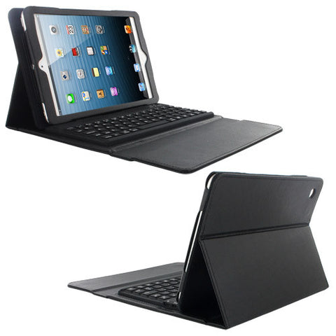 Skque Folding Leather Case Cover with Stand and Wireless Bluetooth Keyboard for Apple iPad Mini