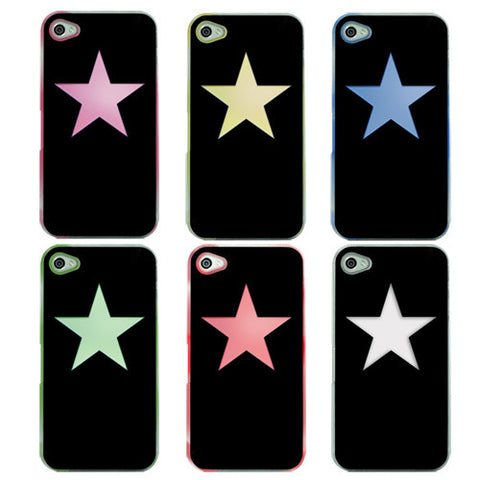 Skque Sense 6 Color Flashing LED Case Cover for Apple iPhone 4 4S, Black