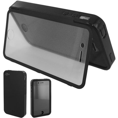 Skque TPU Soft Case with Build In Clear Screen Protector for Apple iPhone 4 4S, Black
