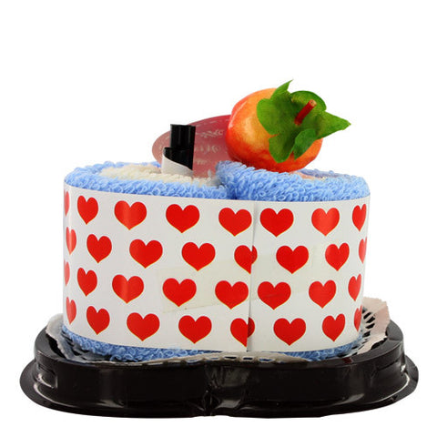 Skque Mini Heart with Strawberry Top Ornament Cute Cake Towel-color in blue