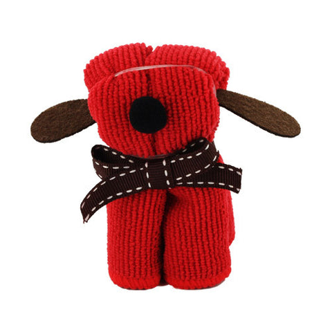 Skque Mini Dog Shape Cute Lovely Bathing Towel Washcloth-color in Red