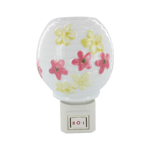 Skque Cute flowers Gallery Bedroom Garden Decor Natural Light Night Ceramic Light Lamp-cap A58 with US Plug