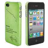 Skque Constellation Series Ultra-thin Rhinestone Star Mobile Phone Hard Case Cover for Apple iPhone 4/4S, Aries, Green