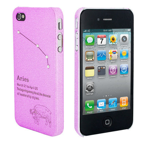 Skque Constellation Series Ultra-thin Rhinestone Star Mobile Phone Hard Case Cover for Apple iPhone 4/4S, Aries, Pink