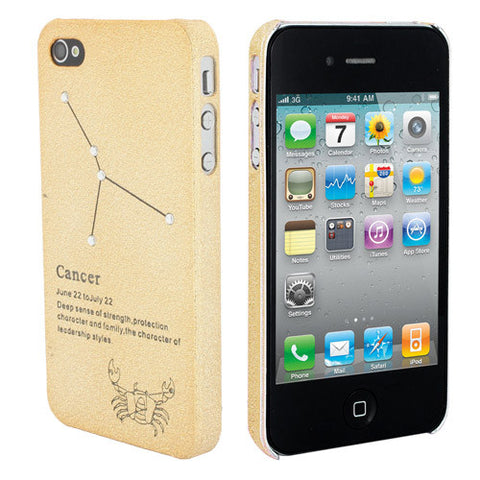 Skque Constellation Series Ultra-thin Rhinestone Star Mobile Phone Hard Case Cover for Apple iPhone 4/4S, Cancer, Gold