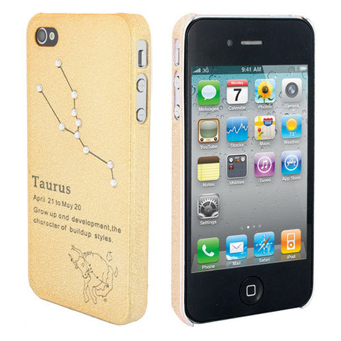 Skque Constellation Series Ultra-thin Rhinestone Star Mobile Phone Hard Case Cover for Apple iPhone 4/4S, Taurus, Gold