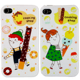 Skque 2pcs Sweet Cute cartoon Lover Couple Valentine Hard Case Cover for Apple iPhone 4/4S-cooking shop style