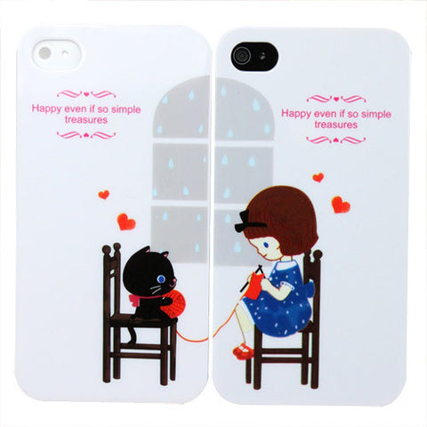 Skque 2pcs Sweet Cute Lover Couple Valentine Hard Case Cover for Apple iPhone 4/4S
