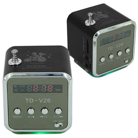 Skque Mini MP3 Player Speaker with LED Display FM Radio, Micro SD for Mobile Devices, Black