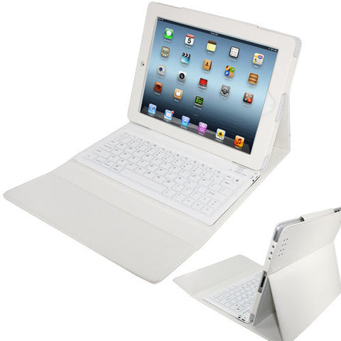 Skque Folding Leather Protective Bluetooth Keyboard Case Cover for iPad 1, iPad 2, White