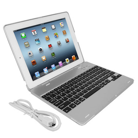 Skque Aluminum Wireless Bluetooth Keyboard for iPad 2, Silver