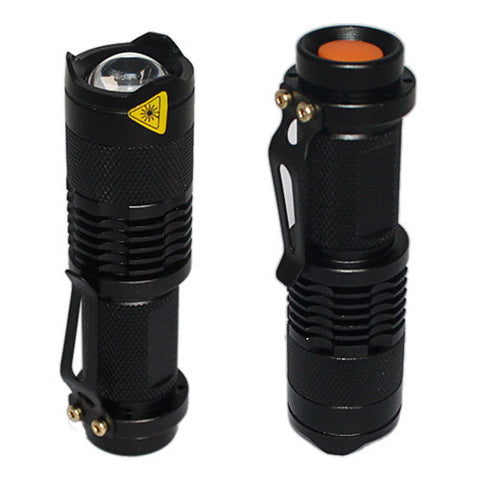 Skque Mini CREE LED Flashlight Torch with Adjustable Focus Zoom 7W 300LM, Black