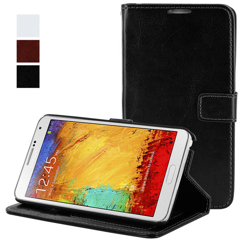 Skque® Flip Magnetic Leather PC Protector Case Wallet for Samsung Galaxy Note 3 N9000, Black