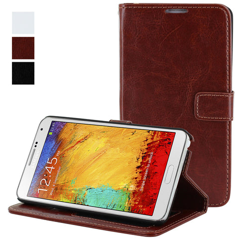 Skque® Flip Magnetic Leather PC Protector Case Wallet for Samsung Galaxy Note 3 N9000, Brown