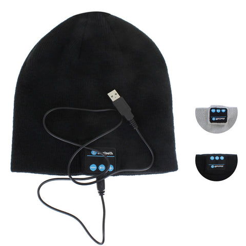 Skque® Wireless Bluetooth Beanie Hat Headset Speakers w/ Mic for Apple Samsung LG HTC,Black