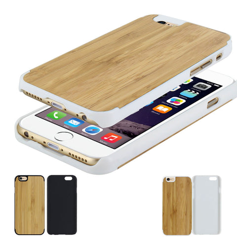Skque� Natural Wood Wooden PC Hard Case Cover for Apple iPhone 6, White & Wood(Design 1)
