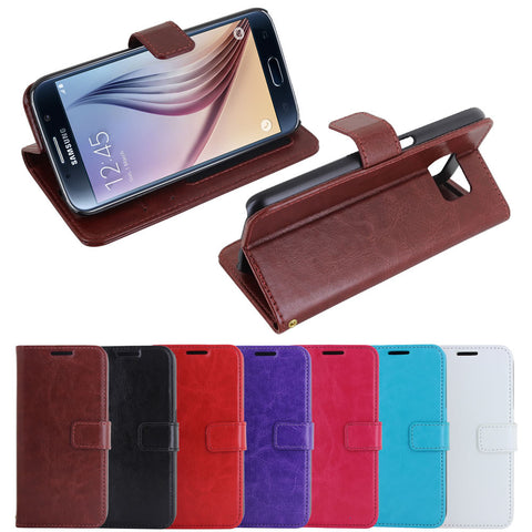 Skque® Flip Magnetic PU Leather PC Protective Wallet Case for Samsung Galaxy S6, Brown
