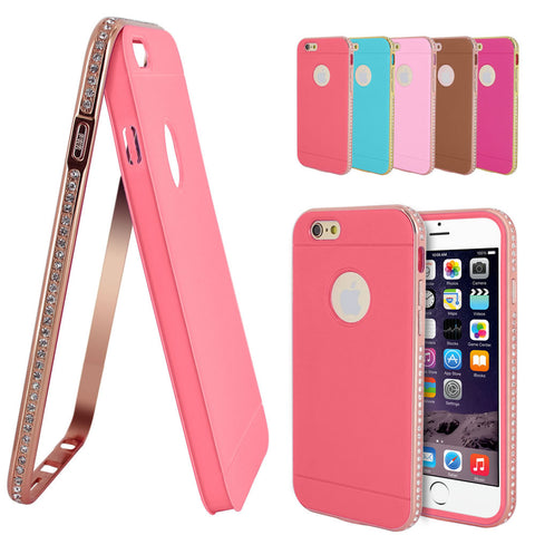 Skque® Crystal Bling Diamond Bumper Hybrid Case Cover for Apple iPhone 6, Hot Pink & Gold