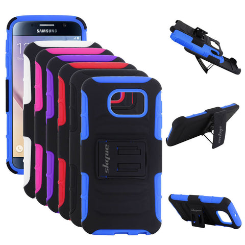 Skque Hybrid Double Layer Holster Belt Clip Defender w/ Kick Stand Case Cover for Samsung Galaxy S6, Black & Blue